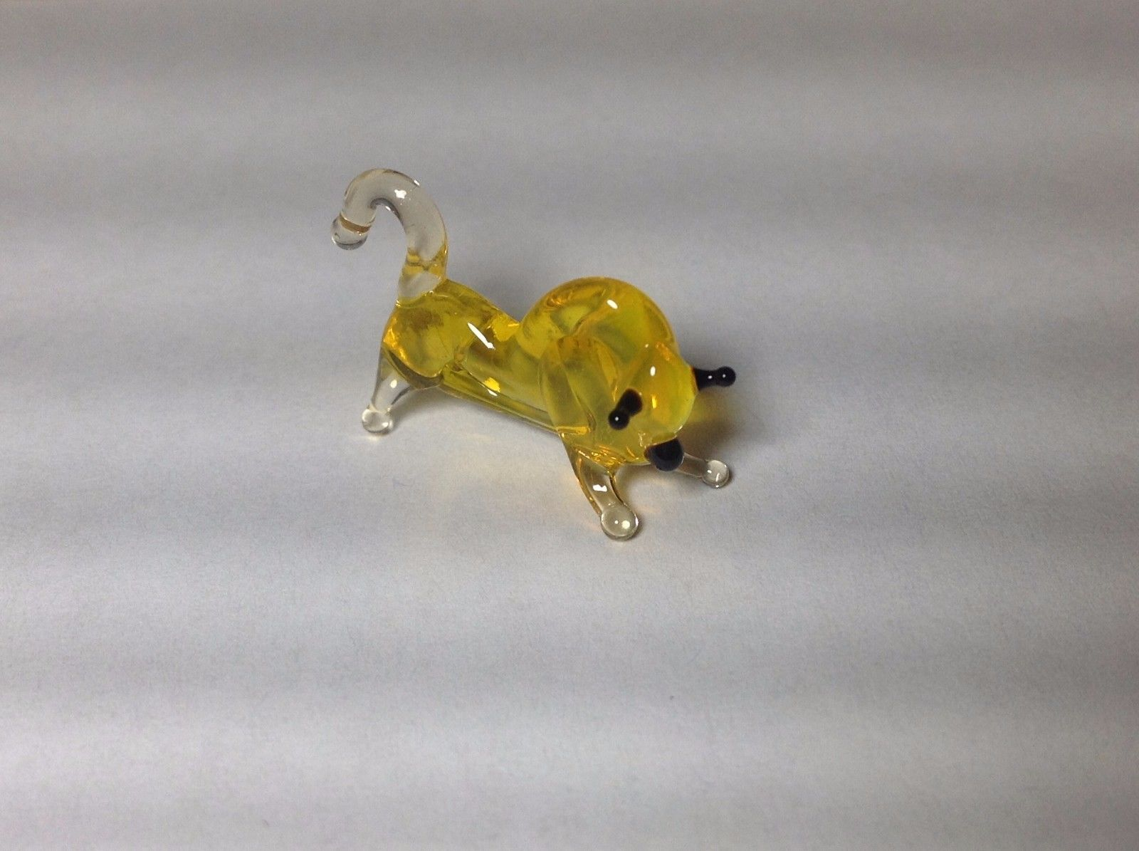 Miniature Glass golden charging bull  Handmade Blown Glass Made USA