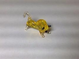 Miniature Glass golden charging bull  Handmade Blown Glass Made USA - $34.64