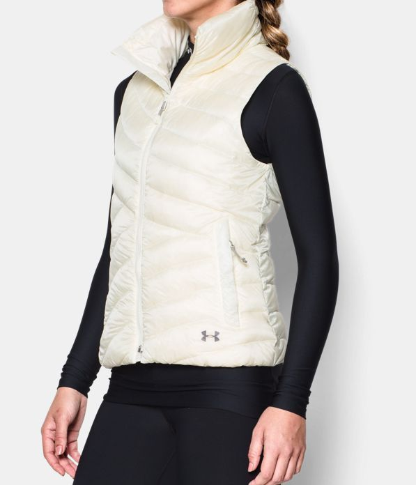 New Womens Under Armour Vest L White Down Warm Puff Infrared Storm NWT Water Res image 3