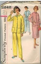 2242 Vintage Simplicity Cartamodello da Donna Due Pezzi Pigiama Camicia Notte - $7.90