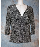 Womens Black White Studio Connection 3/4 Sleeve Shirt Size 12 excellent - $7.91
