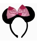 Disney Minnie Mouse Ears Headband Pink Polka Dots Ribbon Black Felt Them... - $14.84