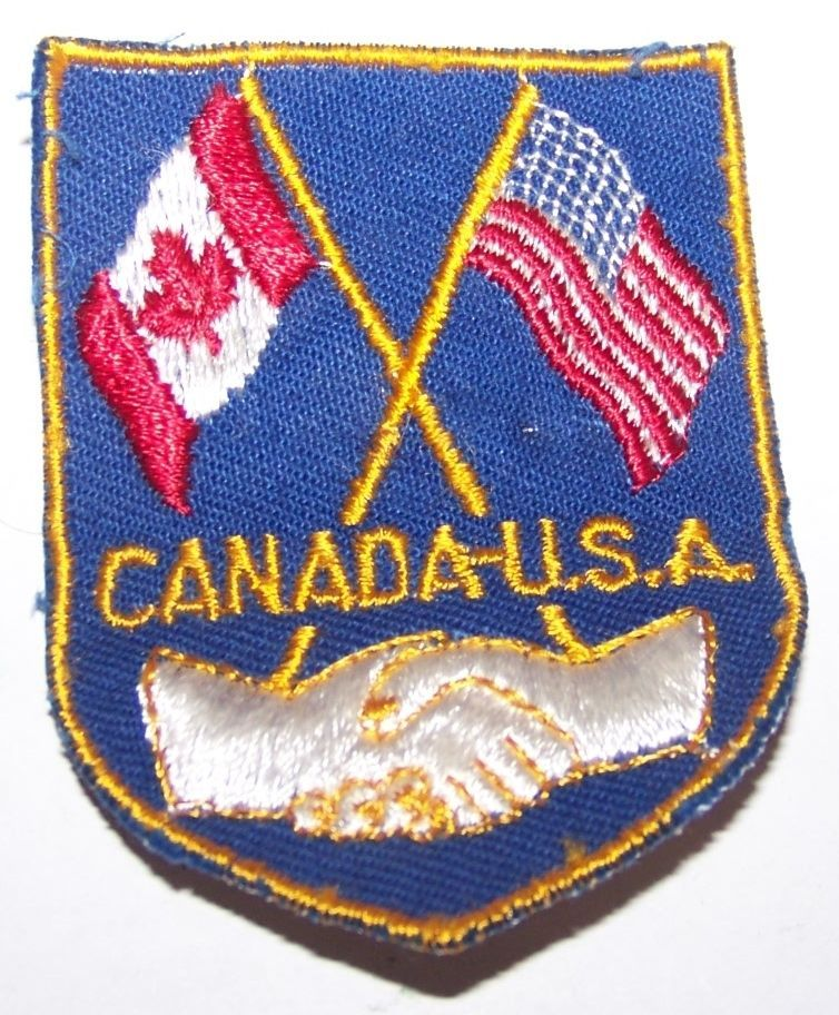 Primary image for VINTAGE CANADA USA FRIENDSHIP TRAVEL BIKER EMBROIDERED PATCH SOUVENIR AMERICA