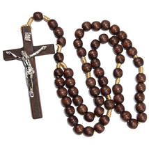 Large Brown Wooden Rosary Beads with Crucifixion INRI Holy Land Handmade... - $24.75