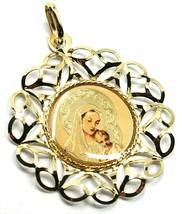 Anhänger Medaille, Gelbgold 750 18K, Rahmen A Blume, Maria und Jesus Kind image 1