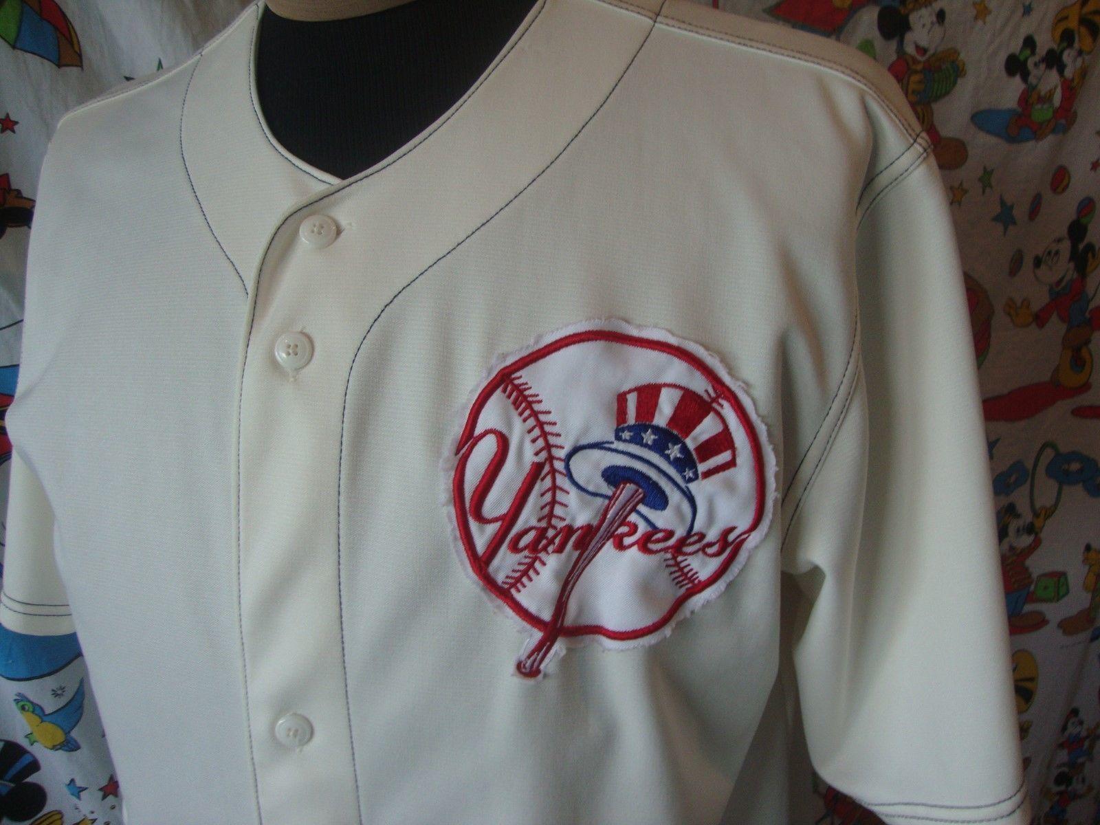 MLB New York Yankees Sewn Logo Beige Baseball Jersey Adult size L