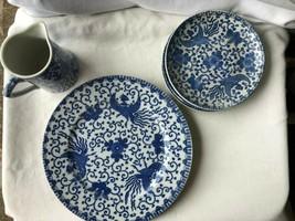 3 Vintage Nippon Showa Phoenix Pieces Creamer 1 Saucer 8 1/2 Inch Plate - $23.99