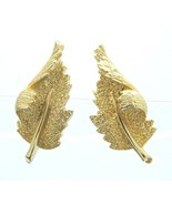 CORO Gold Tone Curved Leaf Clip-On Earrings Vintage - $19.79