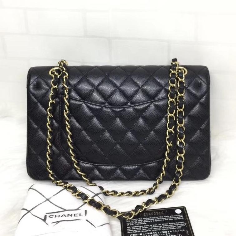 BRAND NEW AUTH Chanel Medium Black Caviar Classic Double Flap Bag GHW