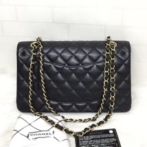 BRAND NEW AUTH Chanel Medium Black Caviar Classic Double Flap Bag GHW image 2