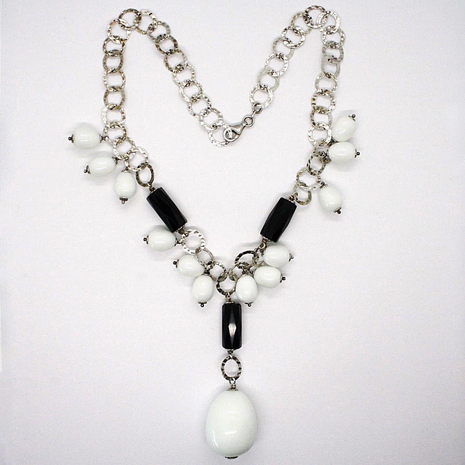 925 Silber Halskette, Onyx Schwarz, Achat Weiß Tropf , Wasserfall Anhänger