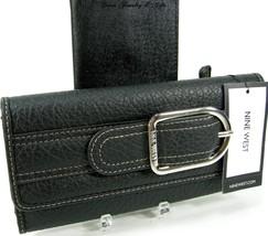 Nine West Checkbook Cover & Wallet Duplicate Flap 2 Piece Set Black Silver NWT - $39.59