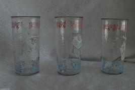 VNTG SET OF 3-HAZEL ATLAS 8 oz.GLASSES-AMISH DESIGN PINK WHITE & BLUE-EX... - $9.89