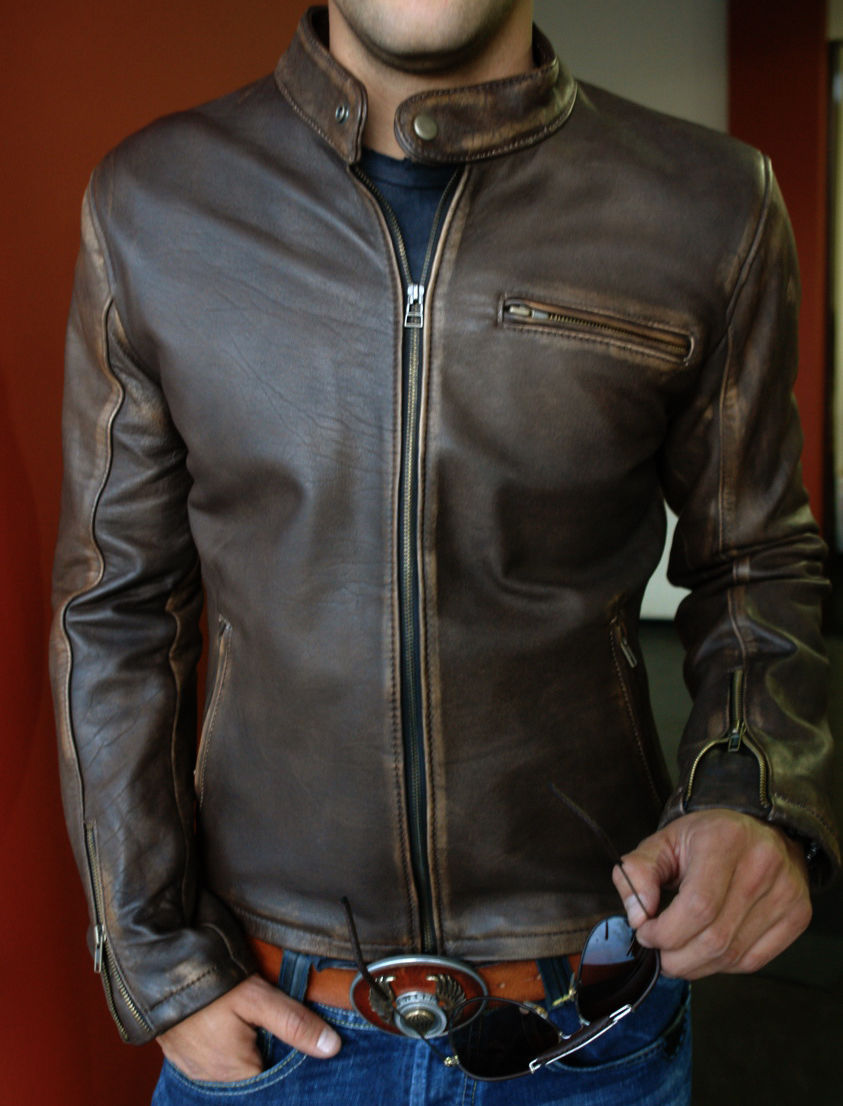 Used, Genuine Leather Jacket Distressed Brown Cafe Vintage Motorcycle Brand All Size for sale  USA