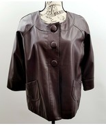 Mountain Lake Brown 3 Button Faux Leather 3/4 Sleeve Jacket Sz Petite L - £18.18 GBP