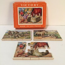 3 Vintage Victory Farmyard Wooden Jig-Saw Puzzles Made In England 15 piece mini - $10.40