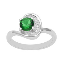 Green CZ Chevron Shine 925 Sterling Silver Fancy Bypass Ring Women - $15.35