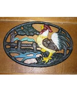 Vintage Reproduction Painted Crowing Rooster Chicken Metal Oval Trivet –... - $9.49