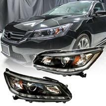 Fit For 13 15 Honda Accord Sedan Black Headlights Headlamp Set LH RH Halogen - $215.04
