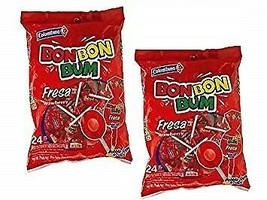 Pack of 2 Colombina BON BON BUM - Strawberry - Fresa - 24 Bubble Gum Lol... - $14.84