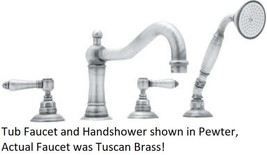 Rohl A1404LMTCB Acqui Deck Mount Column Spout Tub Filler in Tuscan Brass - $792.00