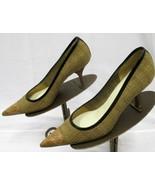 PRADA Camel & Dark Beige Tweed Pumps w/ Pointed Leather Cap Toe - Size 37.5 - $139.99