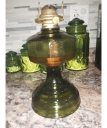 VTG P&A MFG Green Glass Oil Lamp with Eagle burner  - $90.00