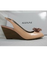 Alfani Sz 8.5 M Blossom Pink Seashell Leather Slingbacks Wedges New Wome... - $60.28