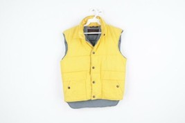 Vintage 80s Calvin Klein Mens Small Streetwear Buttton Hooded Puffer Ves... - $49.45