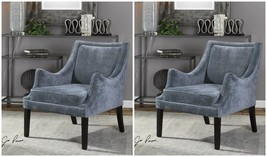 TWO NEW ACCENT CLUB CHAIR TEXTURED GRAY & AMETHYST CHENILLE CURVED ARMS - $1,403.60