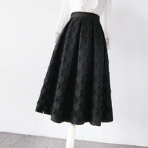 Lady Black A Line Full Pleated Skirt High Waist Midi Black Skirt with polka dot image 5