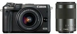 Canon mirrorless single-lens camera EOS M6 double zoom kit (black) EF-M1... - $1,011.43