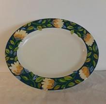 "Spode Kim Parker CHICORY HYMN 15"" Oval Serving Platter Floral Blue Green... - $14.98"