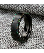 Forged Carbon Fiber Ring Opal Wedding Ring - $139.99