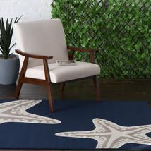 """5x7 (5' x 7'3"""") Starfish Nautical Tropical Coastal Blue Indoor Outdoor Area Rug - €87,25 EUR"""