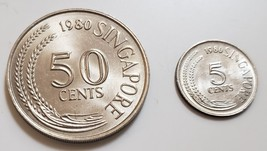 Lot of 2 1980 Coins from Singapore: 50 cents, 5 cents - $3.95