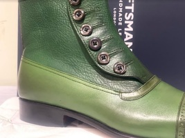 Handmade Men's Green Leather High Ankle Buttons Boot image 7