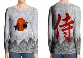 Long Sleeve Tee Women Japanese Samurai - £17.23 GBP