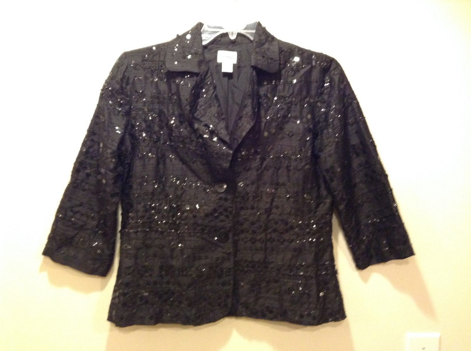 CHICO's Black Party Cardigan/Blazer w Black Geometric Attachments Sz 1