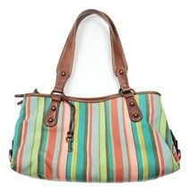 Fossil Multi Colored Striped Fabric Handbag with Leather Straps Top Zip  - $12.59
