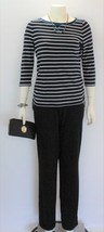 Chaps Women's Striped Blue/White Long Sleeve Pullover Top Shirt - $24.75