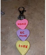 Sweet Conversation Heart Keychain Clay Candy Accessory Women's Valentine... - $7.00