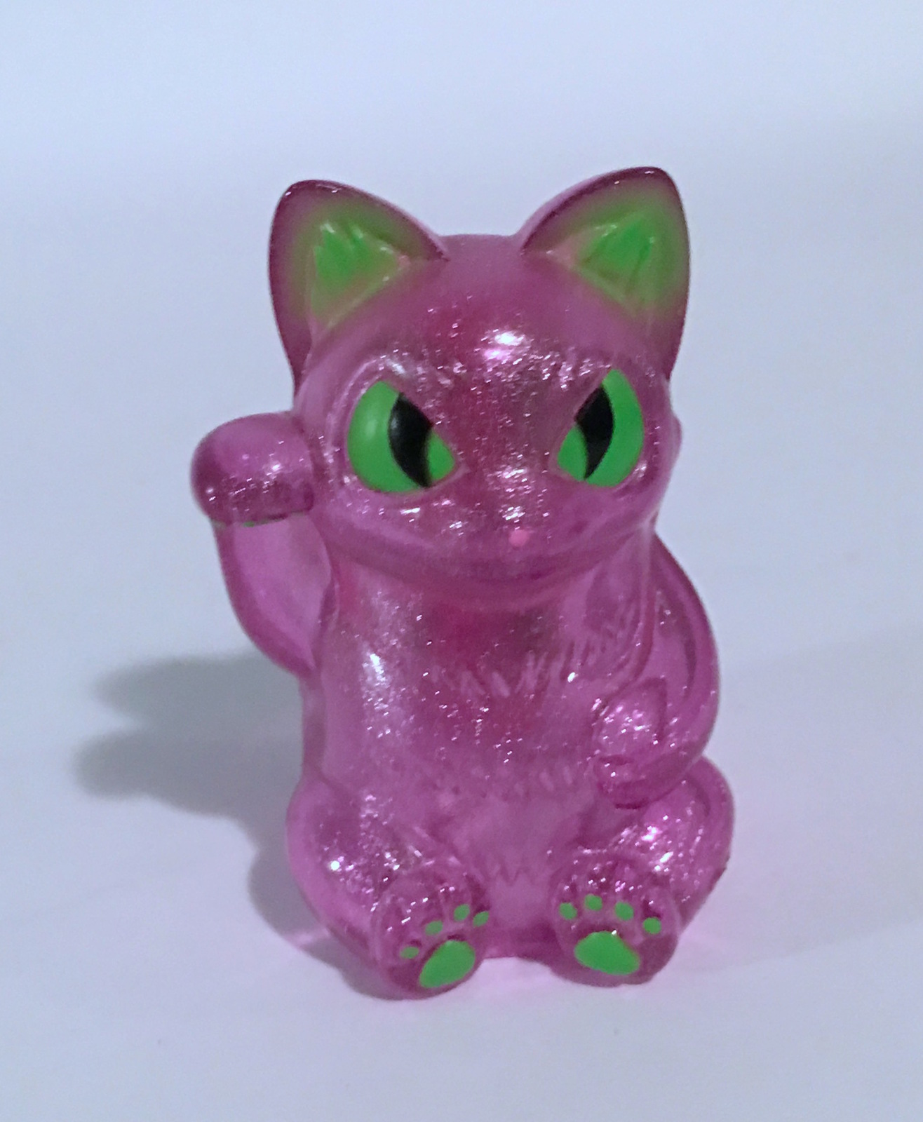 Konatsu Clear Glitter Purple Lucky Cat