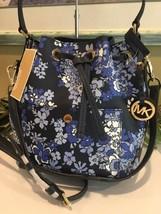 Michael Kors Greenwich Medium Bucket Shoulder Bag Leather Navy Blue Floral $348 - $118.79