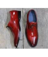 Men's Handmade Burgundy Lace Up Leather Shoes, Men Brogue Dress Shoes - $144.99+