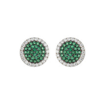 Pave Emerald Spinel + Clear CZ Rhodium Martini Center Stud Earrings-15mm - $39.59