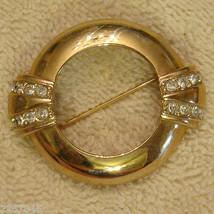 "Avon Centennial Rhinestone Pin 1 3/4"" Gold Plated Lapel Brooch VTG 1980s  - $19.76"