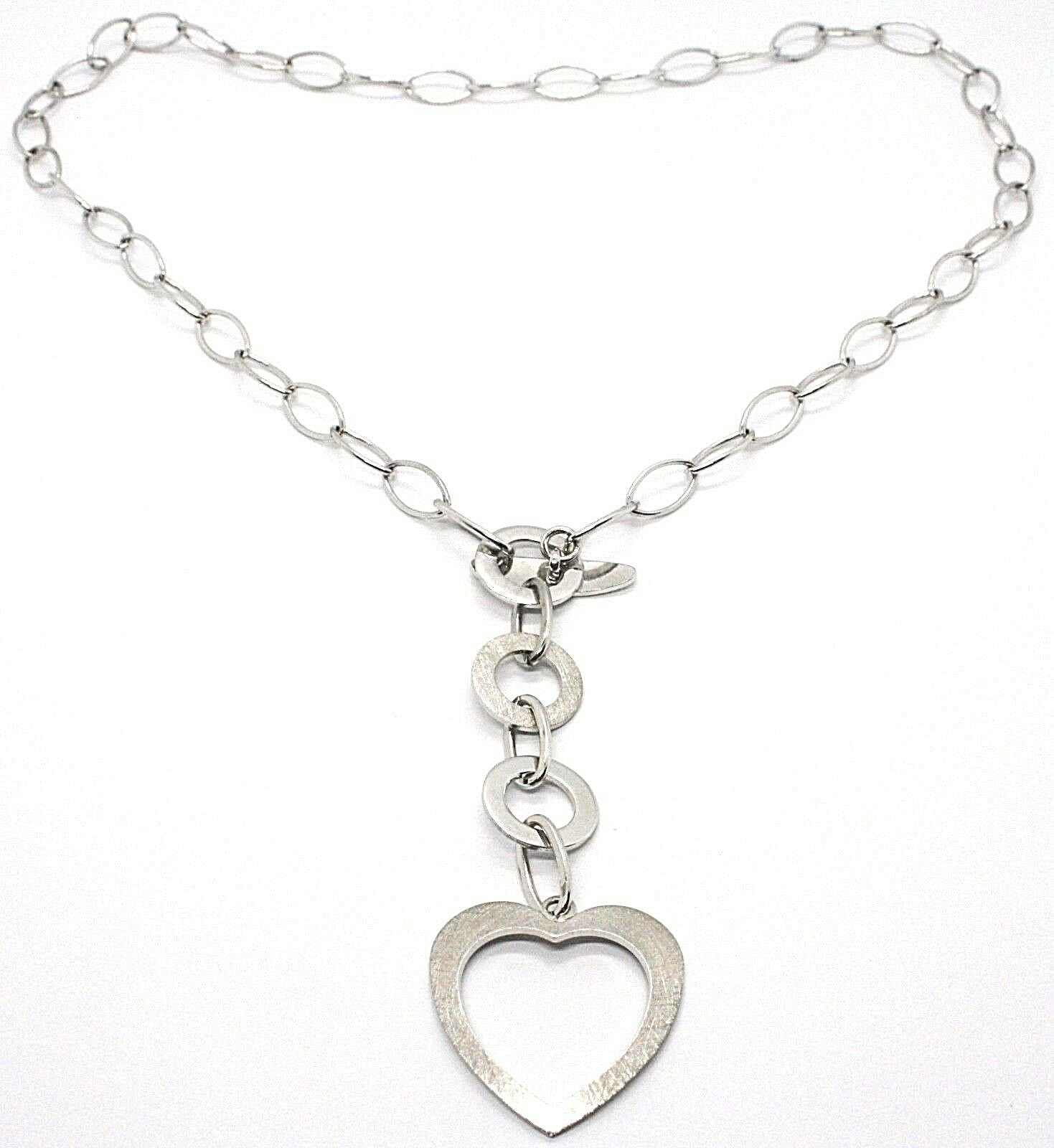 Necklace Silver 925, Chain Oval, Circles and Heart, Hanging, Satin