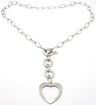 Necklace Silver 925, Chain Oval, Circles and Heart, Hanging, Satin image 1