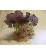 Porcelain Doll Head With Purple Hat & Blond Hair For Crafters And Collec... - $13.45